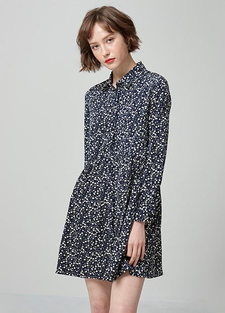 碎花長袖襯衫洋裝