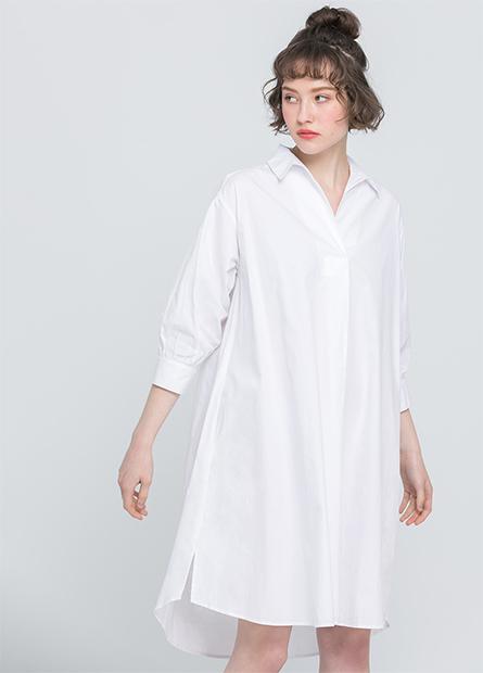 襯衫領開襟七分袖洋裝