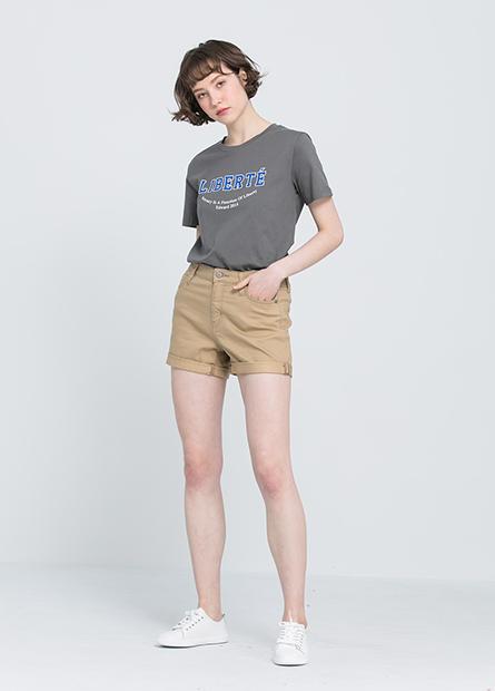 反褶多色牛仔短褲