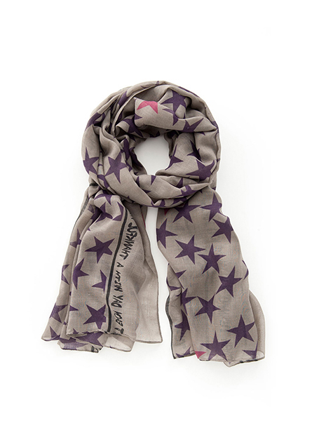 星星印字絲巾