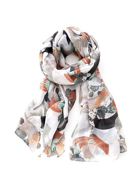 水彩幾何絲巾