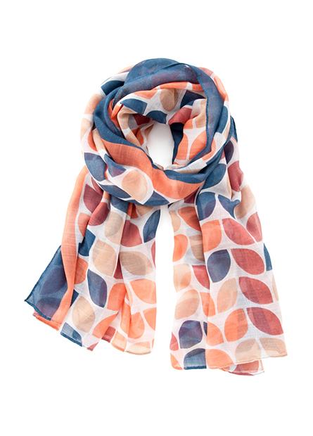 多彩葉片絲巾