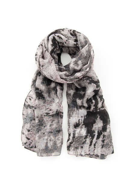 黑白水墨絲巾