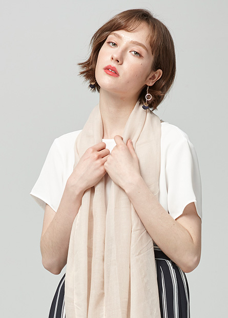 素色不收邊絲巾
