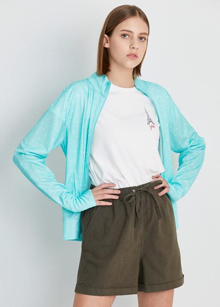 抗UV條紋印花立領外套