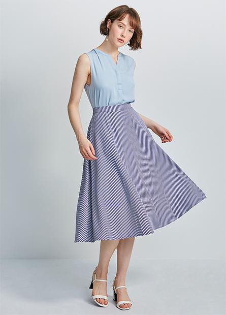 後鬆緊中長圓裙