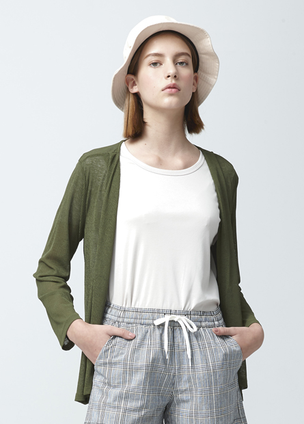 素色翻領羅紋披掛外套