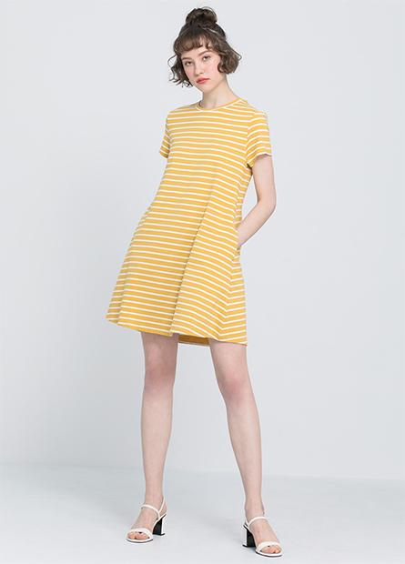 A-LINE條紋素色洋裝