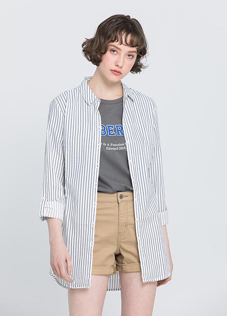 腰綁帶長版襯衫