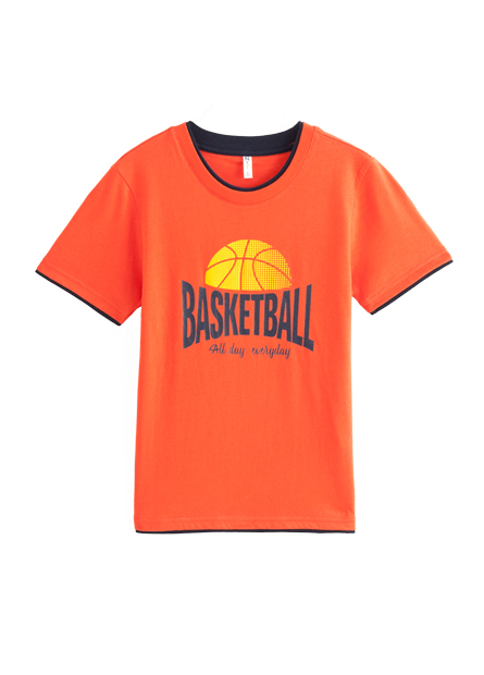 男童雙層領籃球印花短T