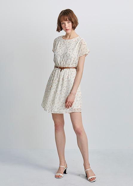 雪紡附腰帶洋裝