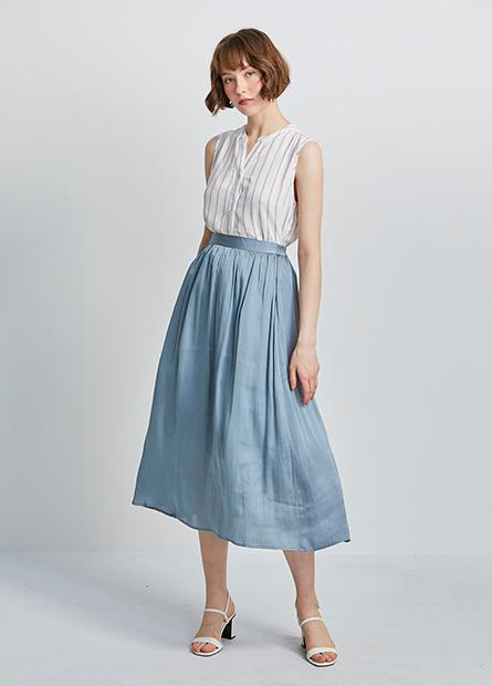 緞面後腰鬆緊長裙