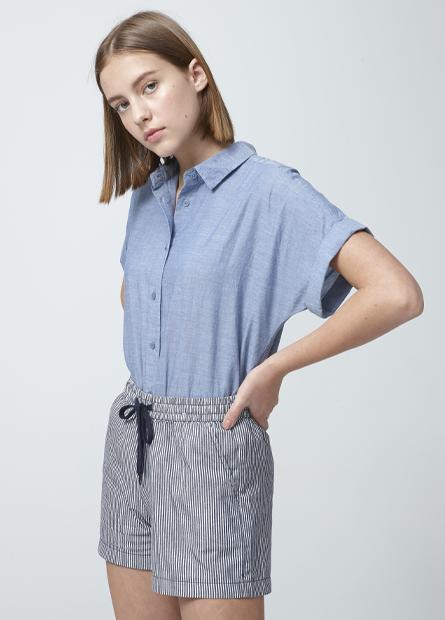 袖反折休閒短袖襯衫