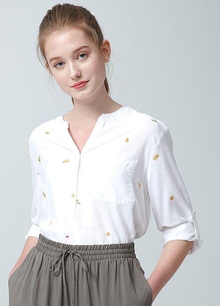 襯衫V領捲釦袖襯衫