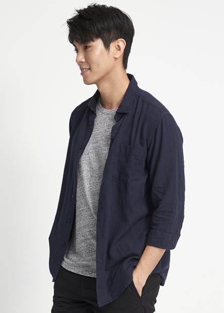 Regular Fit棉麻七分袖襯衫
