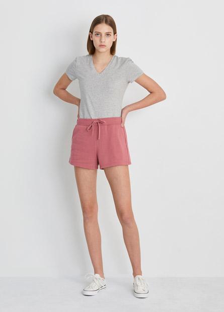 素色腰抽繩短褲