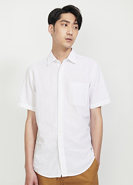 Regular Fit棉麻短袖襯衫