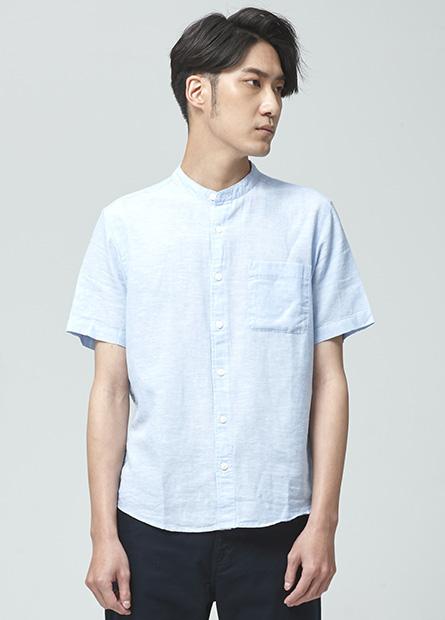 Regular Fit立領棉麻短袖襯衫