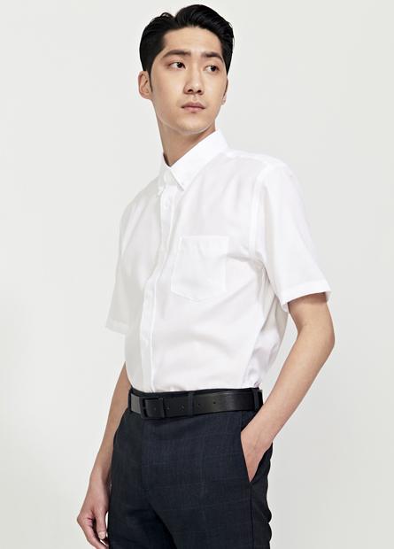 Slim Fit釘釦領防皺短袖襯衫