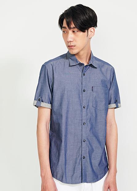 修身型拼接袖襯衫