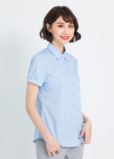 花苞袖尖領商務短袖襯衫
