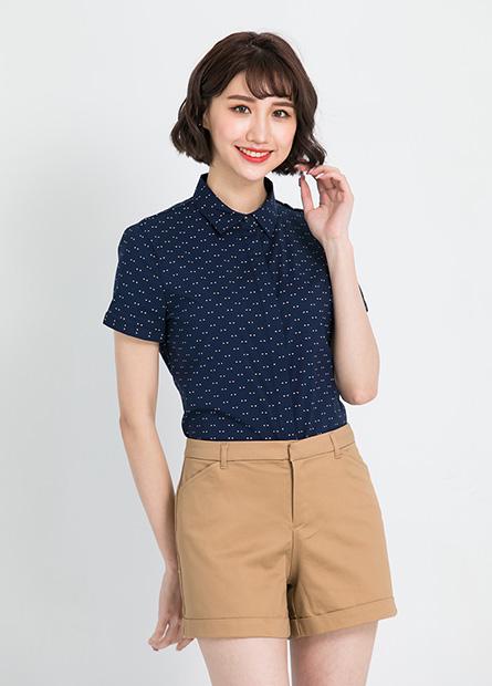 隱藏釦商務短袖襯衫