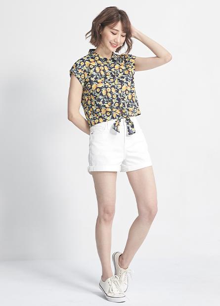 反褶袖短版綁帶襯衫