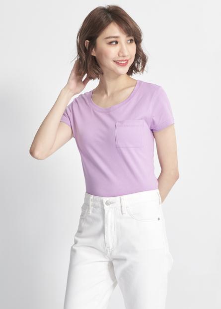 素色單口袋純棉短T