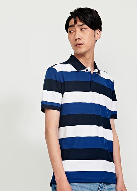 等距寬條短袖POLO衫