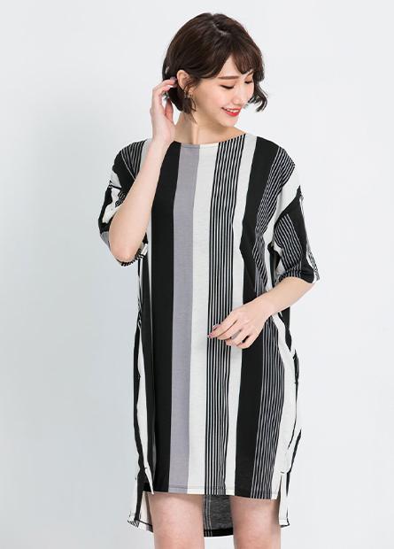 五分袖條紋直筒洋裝