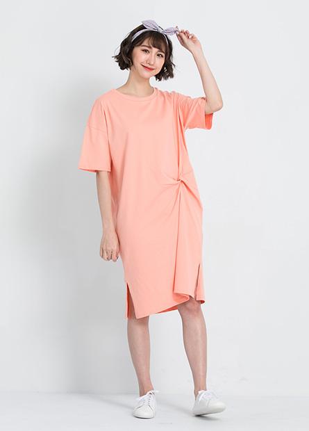 純棉扭結直筒洋裝