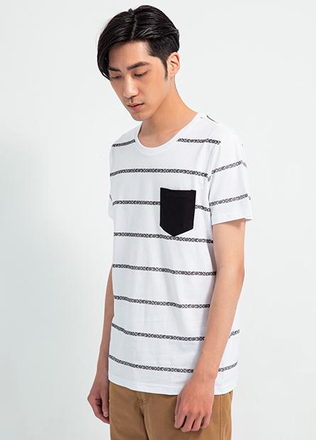 單口袋民俗風條紋短T