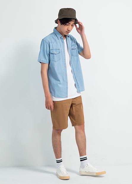 雙口袋牛仔短袖襯衫