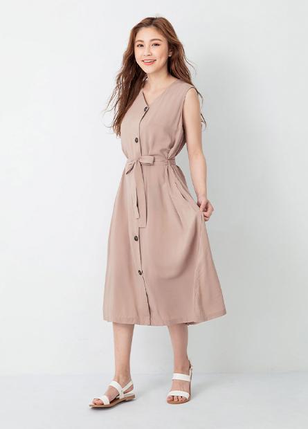素面排釦無袖洋裝