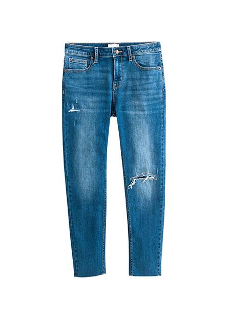補丁緊身窄管牛仔褲