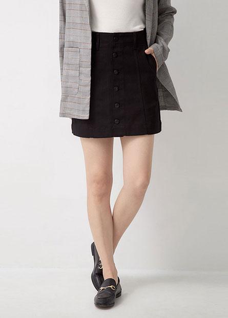 斜紋布排釦短裙
