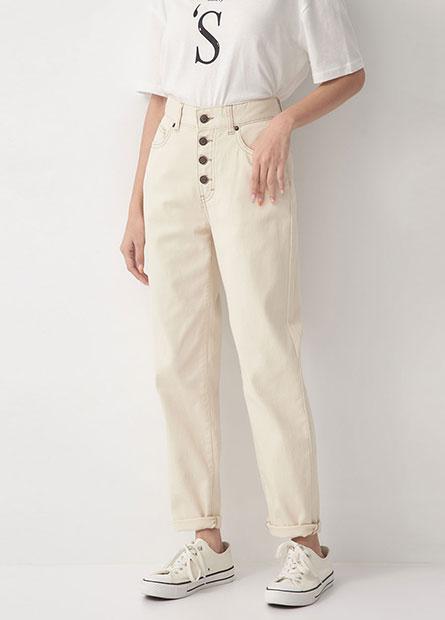 高腰排釦直筒牛仔褲