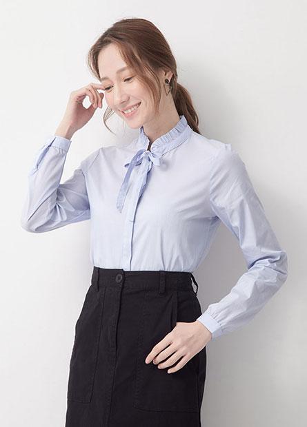 荷葉立領綁帶商務襯衫