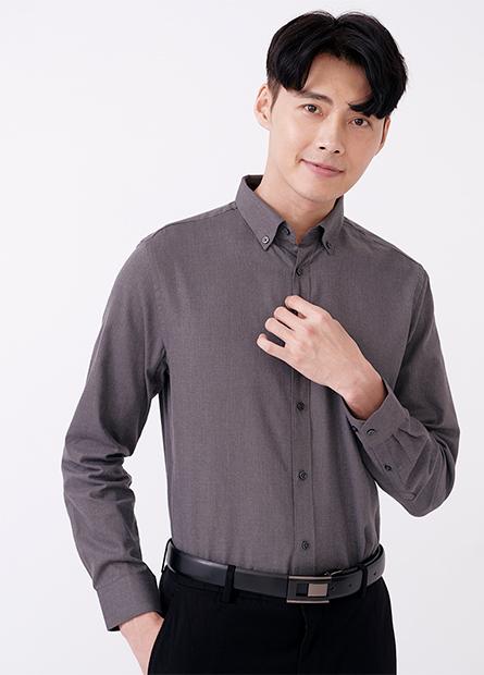 Slim Fit釘釦修身長袖襯衫