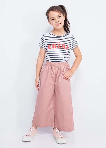 女童素面寬版長褲