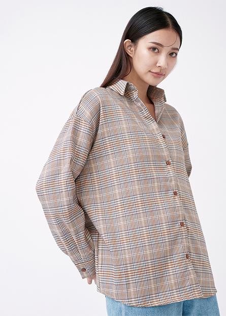 格紋寬鬆長袖襯衫