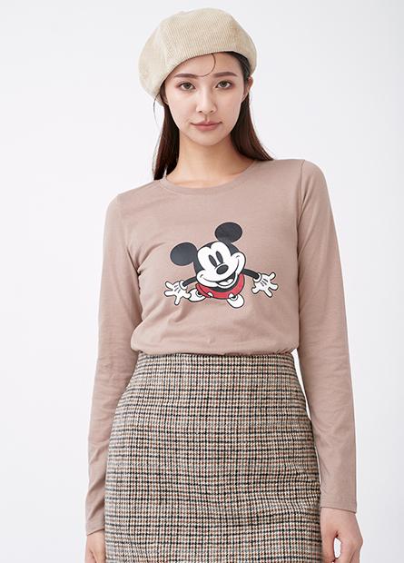米奇米妮印花長袖T恤
