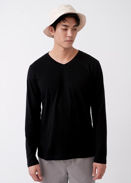 V領素面袖T恤