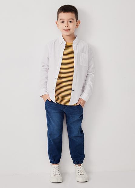 男童鬆緊綁帶束口牛仔褲