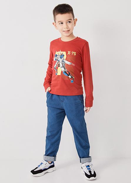 男童鬆緊腰直筒九分牛仔褲