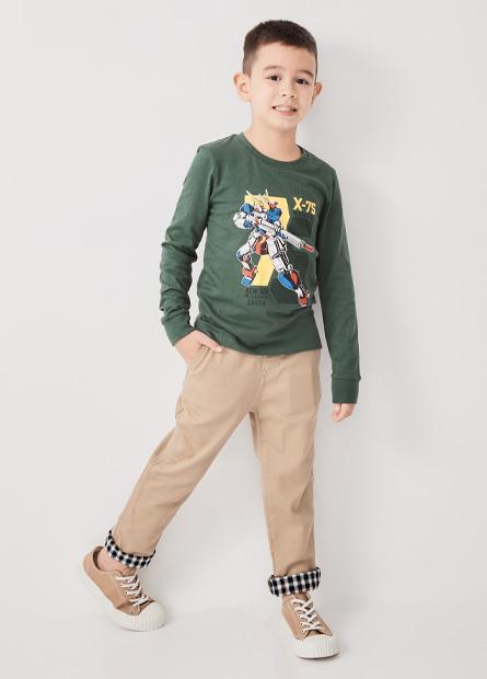 男童鬆緊綁帶褲管拼布長褲