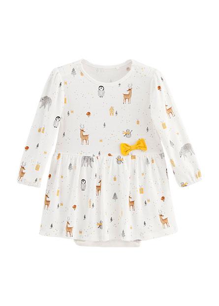 女嬰小動物印花洋裝包臀衣