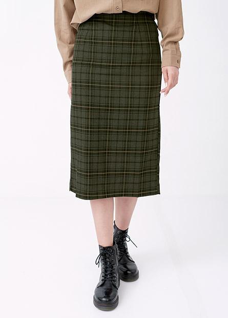 後鬆緊格紋中長裙