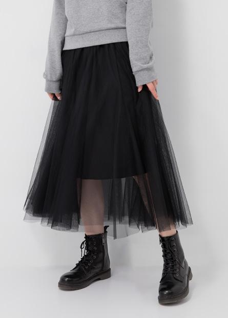 鬆緊腰雙層紗裙