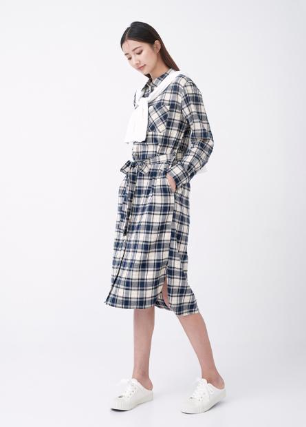 襯衫式格紋綁帶洋裝
